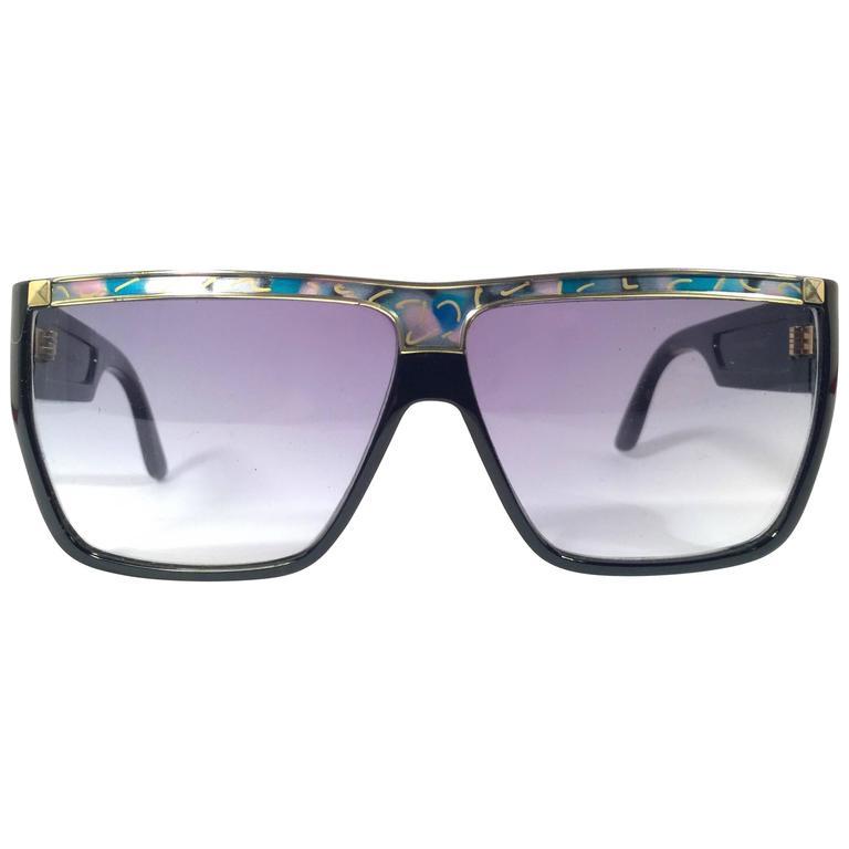 New Vintage Leonard Sleek Black &  Mosaic 1970's France Sunglasses