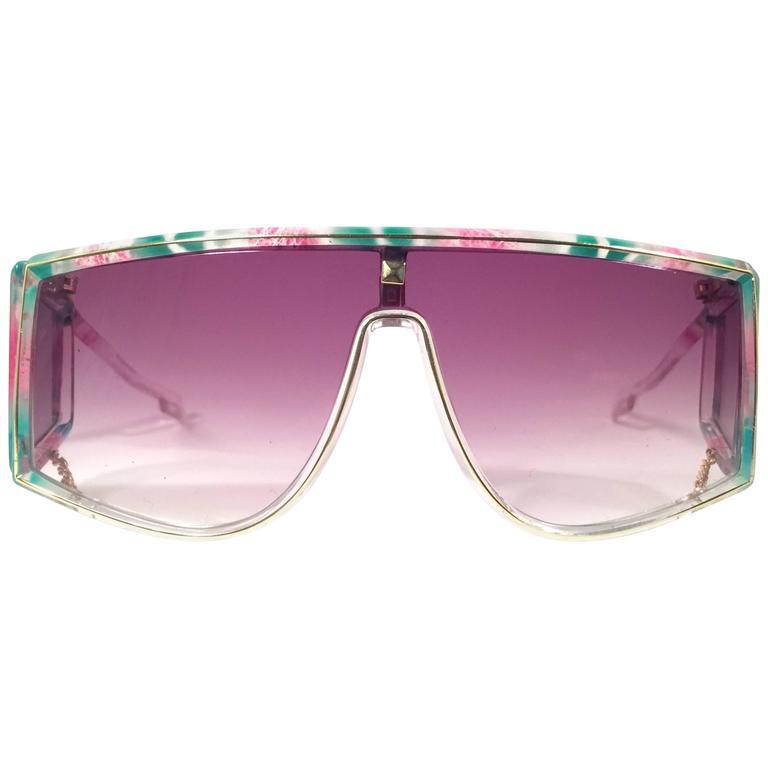 New Vintage Leonard Translucent Mosaic Mask Shield 1970's France Sunglasses