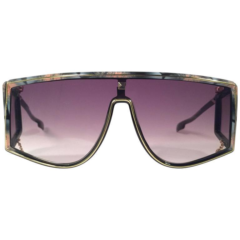 New Vintage Leonard Sleek Black Mosaic Mask Shield 1970's France Sunglasses