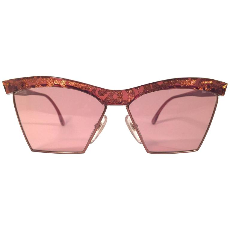 New Vintage Christian Lacroix Cat Eye 7315 Red & Gold 1980's France Sunglasses