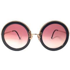 New Vintage Christian Lacroix Round Black Gold Accents 1980 France Sunglasses