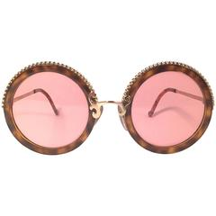 New Vintage Christian Lacroix Round Tortoise Gold Accents 1980 France Sunglass