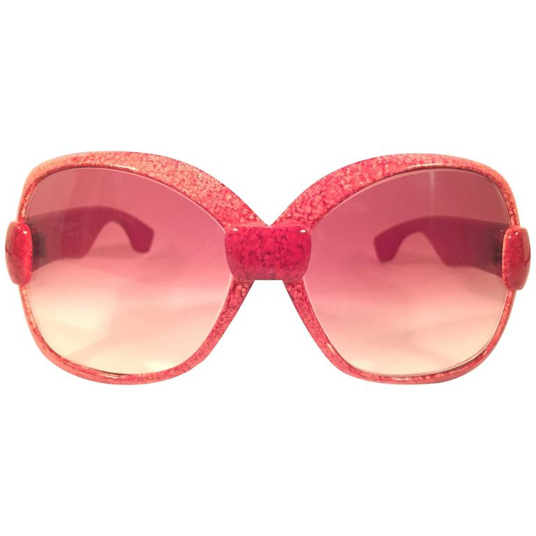 New Vintage Yves Saint Laurent YSL 541 Jasped Red 1970 France Sunglasses