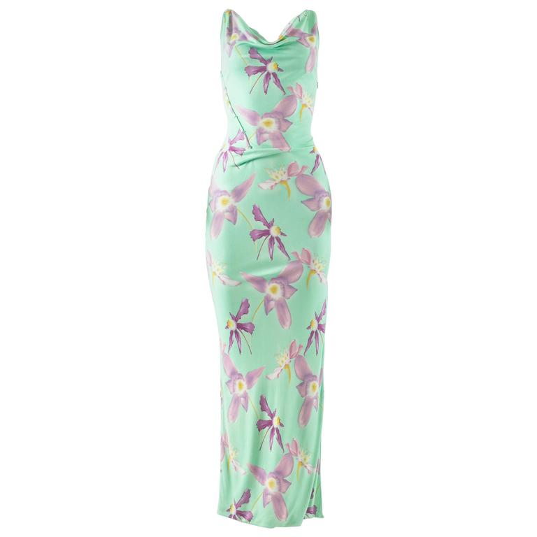 Gianni Versace Spring-Summer 1999 aqua orchid print jersey bodycon evening dress