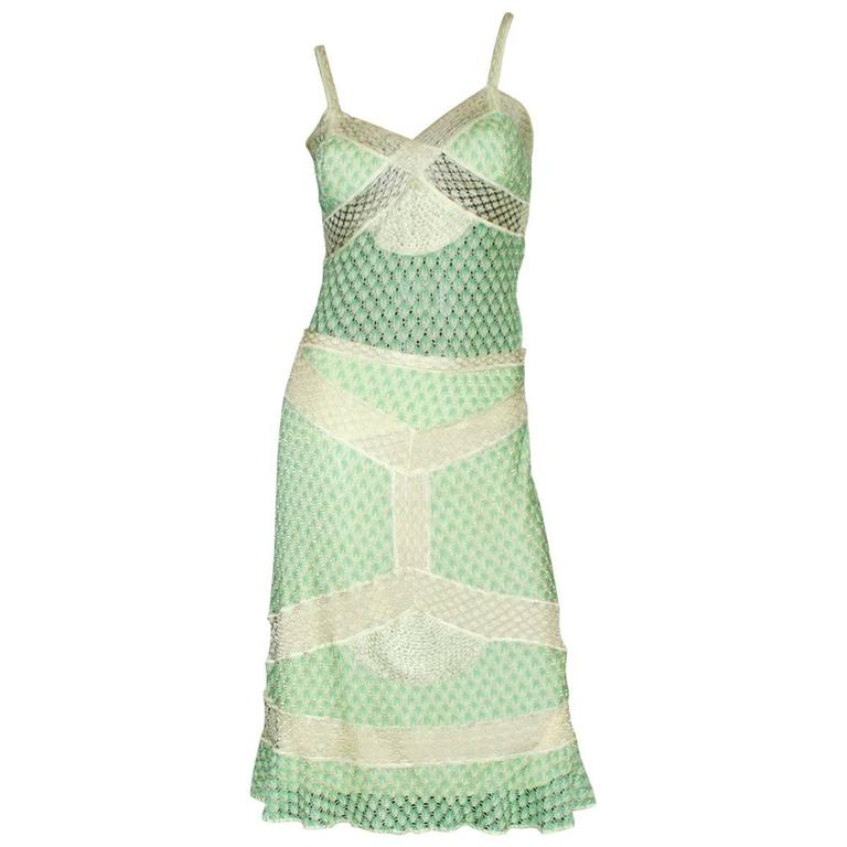 Missoni Lime Crochet Knit Top Skirt Ensemble Dress