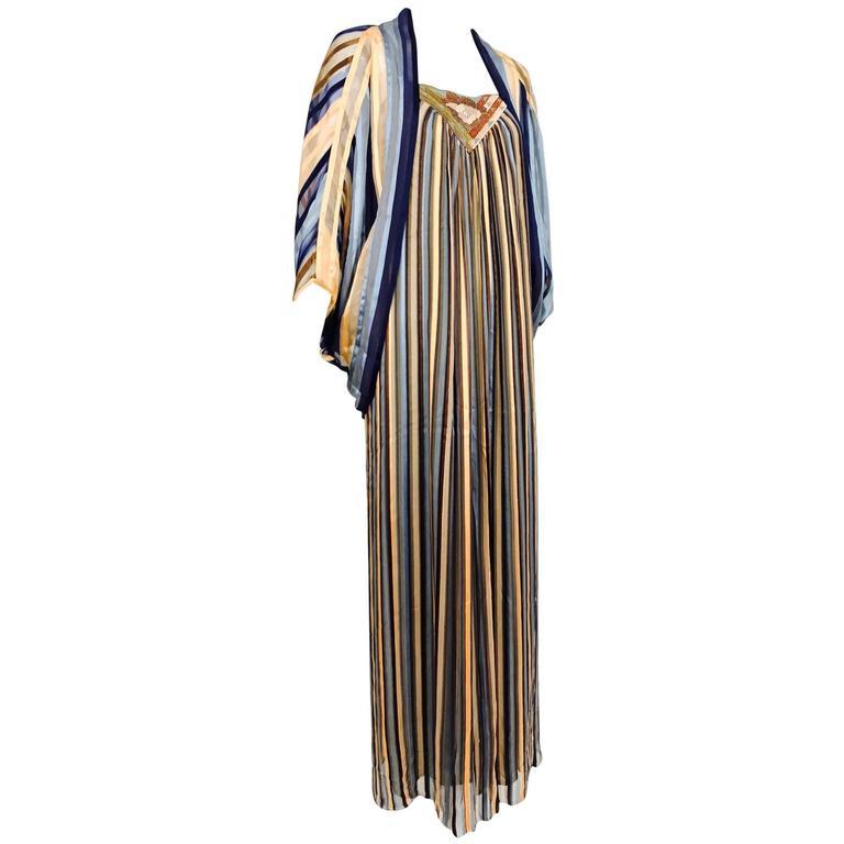 Vintage Janice Wainwright 2pc woven silk stripe maxi dress and jacket 1970s 1