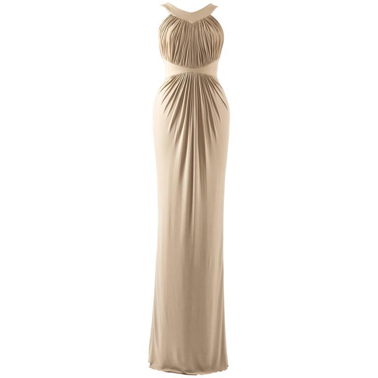 Hervé Leroux for Guy Laroche Spring-Summer 2006 nude pleated evening dress