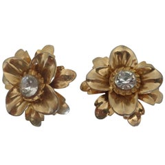 1980s Gold tone flowers with Crystal Swarovsky clip on earrings