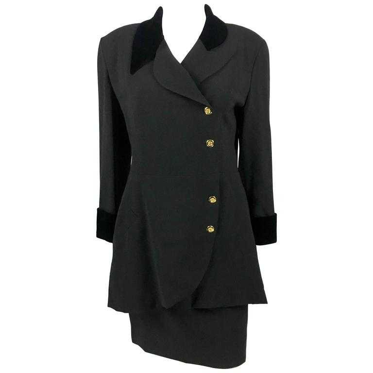 1990s Chanel Black Wool Skirt Suit With Velvet Collar and Cuffs 1
