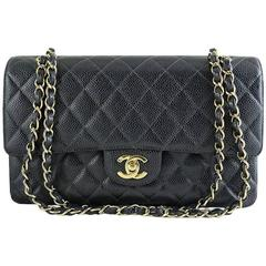 Chanel Black Caviar 10inch Medium 2.55 Classic Double Flap Bag