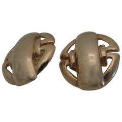 1980s Gold Tone Clip on Earrings