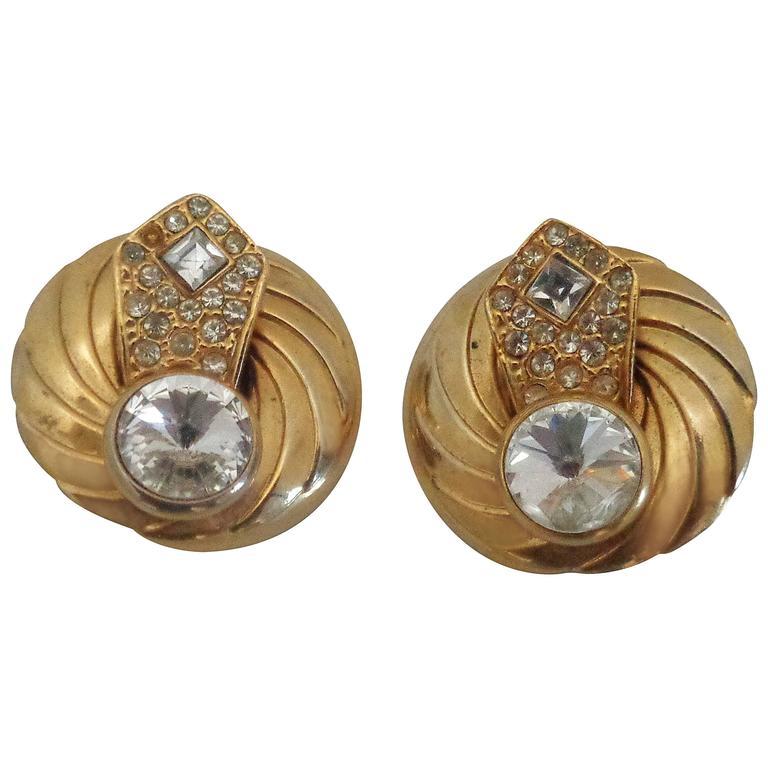 1990s Gold tone Swarovski clip on earrings For Sale