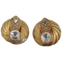 1990s Gold tone Swarovski clip on earrings