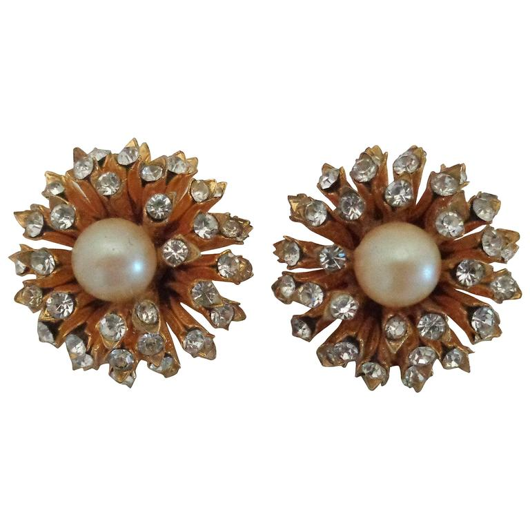 1980s I.N.A.P Gold tone with Crystal Swarovski and Faux Pearls Clip-on earrings For Sale