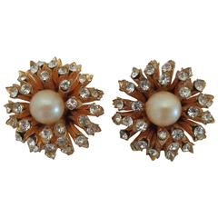 1980s I.N.A.P Gold tone with Crystal Swarovski and Faux Pearls Clip-on earrings