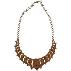 1980s Vintage gold Tone Parure Necklace and Bracelet