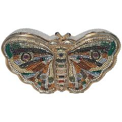 Judith Leiber Vintage Swarovski Crystal Butterfly Minaudiere Evening Bag