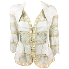 2005 Dior by Galliano Add Campaign and Runway Look White Leather and Lace Jacket