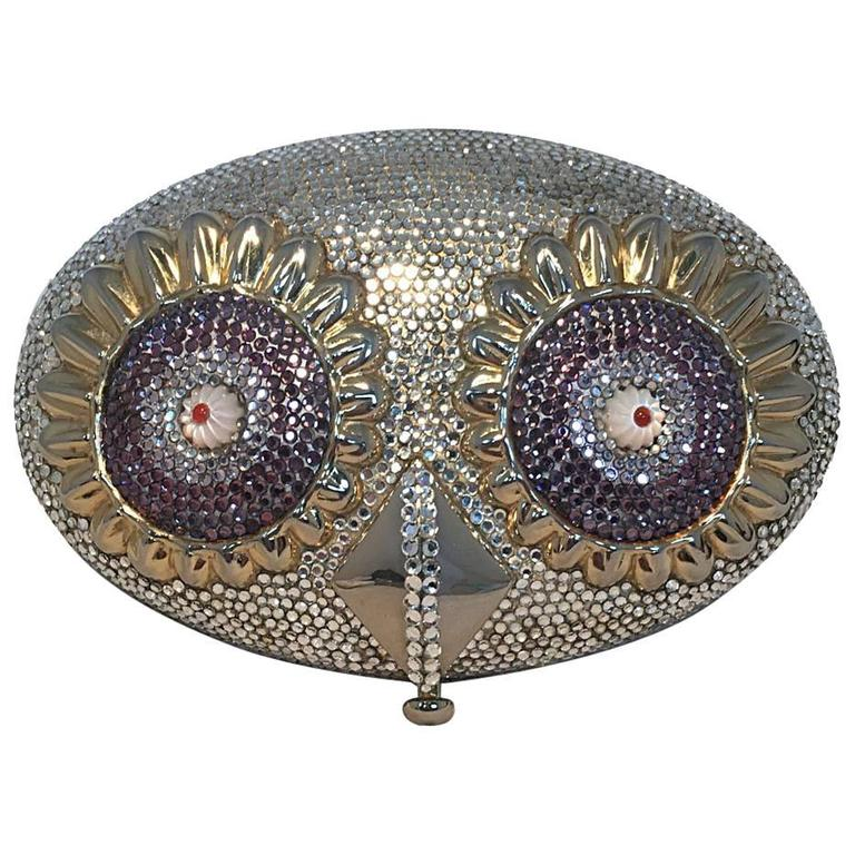 RARE Judith Leiber Swarovski Crystal Owl Head Minaudiere Evening Bag For Sale