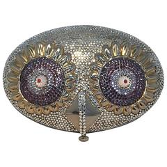 RARE Judith Leiber Swarovski Crystal Owl Head Minaudiere Evening Bag