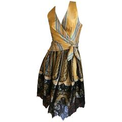 Christian Lacroix Charming Stripe Silk Summer Dress w Arlesian Lace Trim Skirt