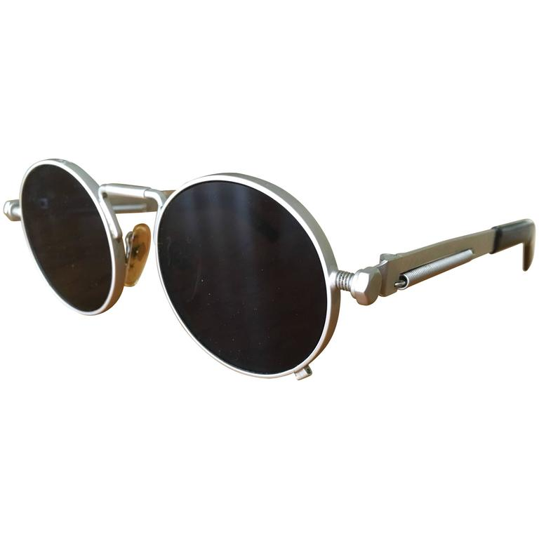 b4490cea4d0 Jean Paul Gaultier Matte Silver Round Sunglasses 56-8171 Japan with ...