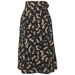 Louis Vuitton Black and Pink Mask, Glove, and Shoe Print Midi Skirt
