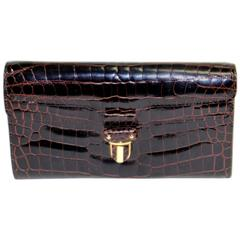Bottega Veneta Ebony Crocodile Skin Wallet