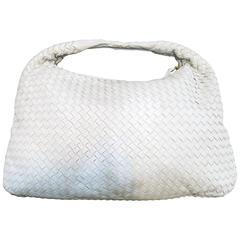 Early 2000's Bottega Veneta White Woven Leather Shoulder Bag