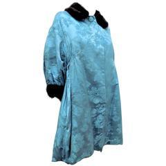 Jeanne Lanvin silk Mink fur trimmed Haute couture Coat 1950's