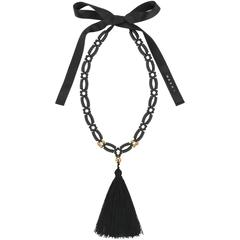 MARNI Resort 2012 Black & Gold Beaded Tassel Pendant Statement Necklace / Belt