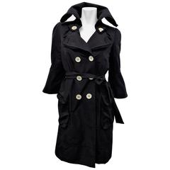 Stylish Louis Vuitton Black  belted trenchcoat / raincoat with flare sleeves