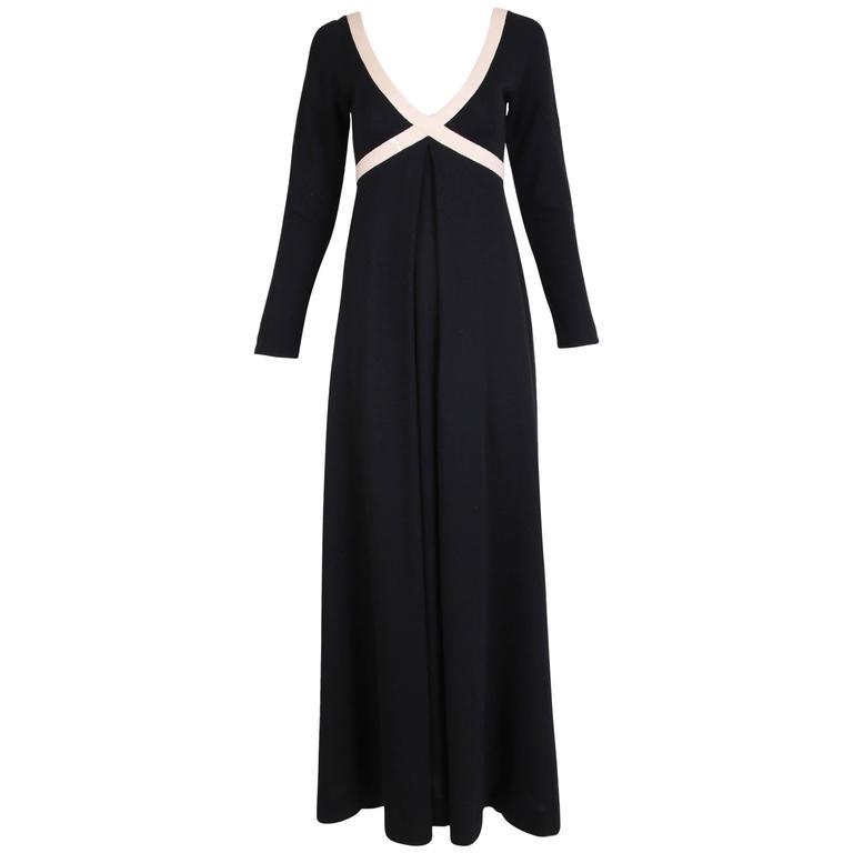 1970's Rudi Gernreich Black & Creme Knit Cross Your Heart Maxi Dress