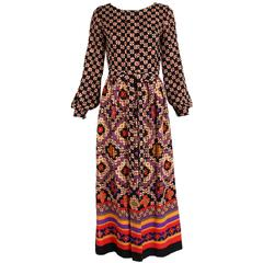 1970's Lanvin Geometric Print Maxi Dress
