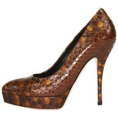 New Gucci Python Amber Platform Pumps Shoes It. 36 - US 6
