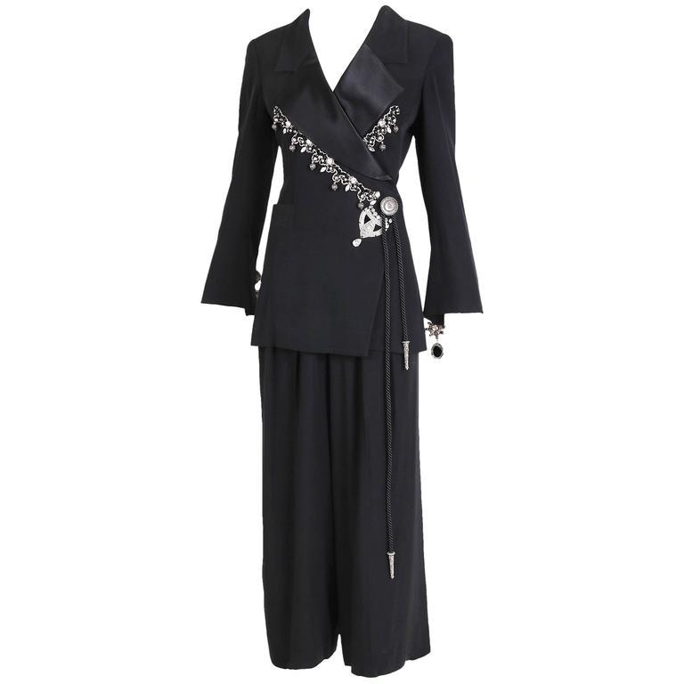 Christian Dior black tuxedo jacket & pants ensemble, 1994, offered by Rachel Zabar Vintage