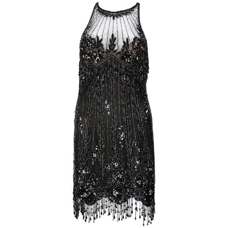 Bob Mackie 20s Inspired Beaded Gatsby Flapper Dress