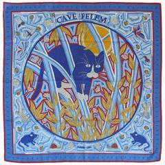 "Hermès Vintage Rare Silk Carre Scarf ""Cave Felem"" by Christine Henry"