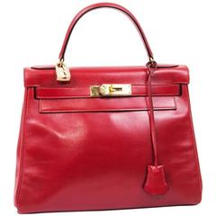 Hermes Kelly 28 Red Box Leather - 1984