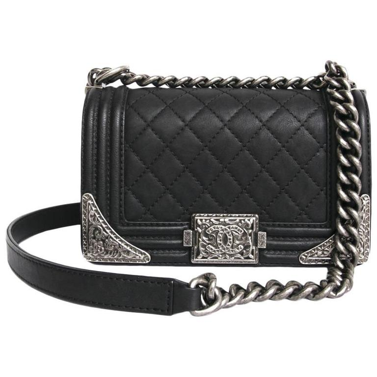 5a768f07a12d Chanel 'Paris Dallas' Boy Flap Bag in Black Quilted Leather at 1stdibs