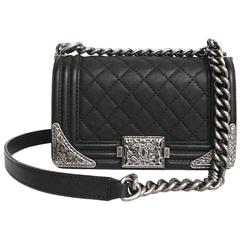 Chanel 'Paris Dallas' Boy Flap Bag in Black Quilted Leather