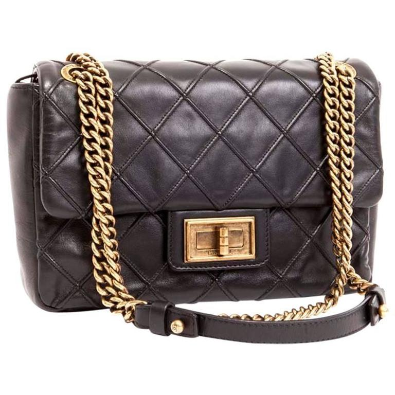 CHANEL Clasp 2.55 Black Smooth Lamb Leather Bag 1