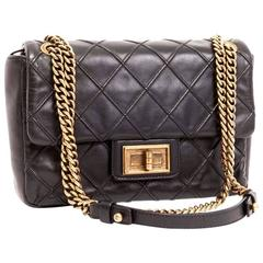 CHANEL Clasp 2.55 Black Smooth Lamb Leather Bag