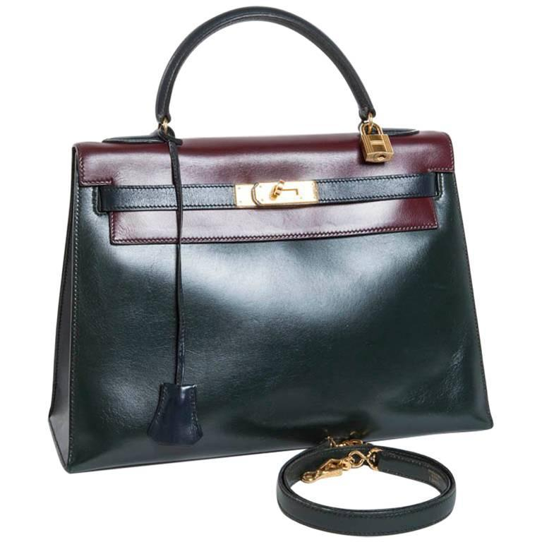Vintage HERMES Kelly 32 Navy Blue, Burgundy and Green English Leather 1