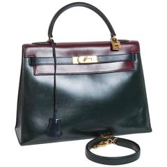 Vintage HERMES Kelly 32 Navy Blue, Burgundy and Green English Leather