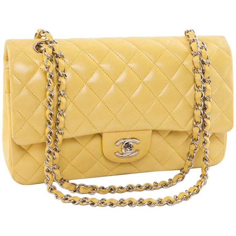 CHANEL  Classic Double Flap Bag Quilted Yellow Leather