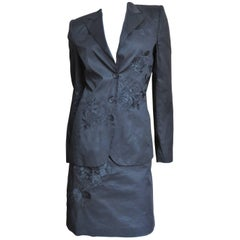 2002 Alexander McQueen Embroidered 3 Pc Black Skirt Suit and White Skirt