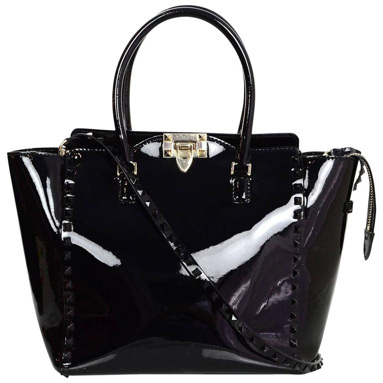feb83f56756 Valentino Black Patent Leather Medium Rockstud Tote Bag w/ Strap