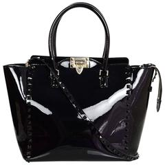 Valentino Black Patent Leather Medium Rockstud Tote Bag w/ Strap