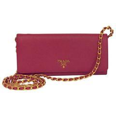 Prada Fuchsia Saffiano Chain Crossbody Wallet